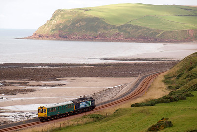 47501 Craftsman and Caroline skirt the Irish Sea on the Cumbrian Coast between St Bees and Coulderton with 2Z02. 22/08/11.