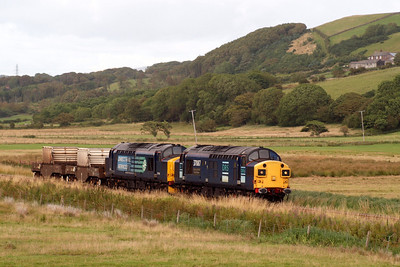 37087 and 37194 approach St Bees with 6M60. 08/08/11.