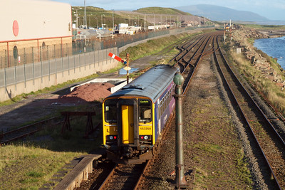 153358 departs Sellafield, heading for Barrow. 16/08/11.