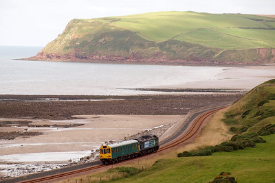 47501 Craftsman and 975025 Caroline work south from St Bees, heading for Coulderton and Nethertown, with 2Z02. 22/08/11.