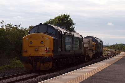 37087 K&WVR and 37194 top 'n' tail 6C52 Heysham PS - Sellafield through Ravenglass. 05/08/11.
