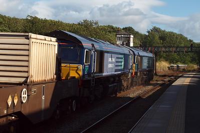 66431 and 66301 pass Ravenglass on 6K73. 09/08/11.