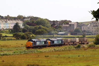 37218 and 37602 erupt away from St Bees with 6K73 Sellafield - Crewe Coal Sidings. 07/07/11.