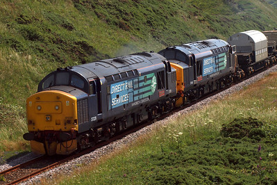 37229 and 37409 at Nethertown heading up 6C46 to Carlisle. 09/07/11.