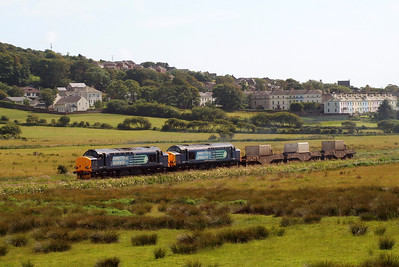 6K73 with 37218 and 37602 makes some noise in the St Bees valley. 07/07/11.