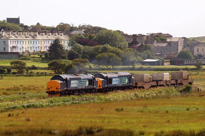 37218 and 37602, running nearly 45 minutes late on 6K73, head out of St Bees. 07/07/11.