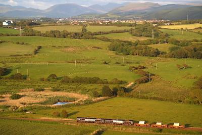 66424 and 66423 head north at Linethwaite on 6C46 Sellafield - Carlisle Kingmoor TMD flasks. 07/06/11.