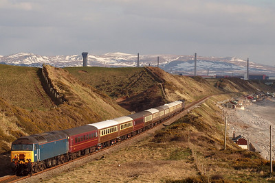 57316 brings up the rear of The Statesman at Nethertown, as the ensemble heads for Braystones and Sellafield, 30/03/13.