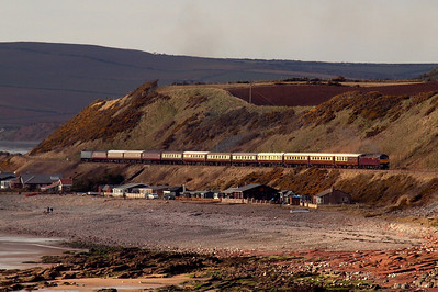 47826 and 57316 top 'n' tail the Cumbrian Mountains & Coast Statesman, returning from Carlisle to Leicester, passing the beach shacks of Coulderton, near Nethertown, 30/03/13.