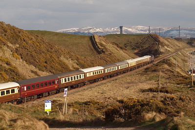 47826 heads south along the Cumbrian Coast, with Sellafield in the distance, 30/03/13.
