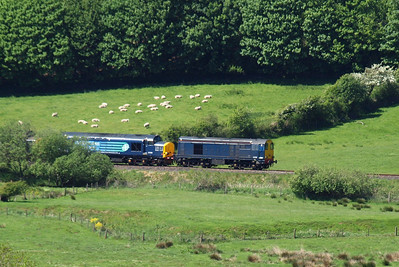 20302 and 37259 emerge from the greenery at Low Walton, Linethwaite, 26/05/12.