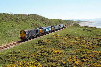 20302, 37259, 37688 Kingmoor TMD and 37612 pass a gorse-filled Nethertown with 6C46 Sellafield - Carlisle Kingmoor TMD, 26/05/12.
