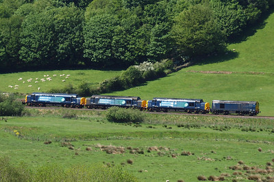 20302, 37259, 37688 and 37612 make a colourful combination at the head of 6C46, 26/05/12.