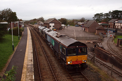 66419 and 66429 on 6K73 at Ravenglass. 19/09/11.