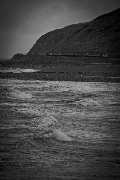 More pix (401 propelling its train south) as the railway threads its way between the sea and the hillsides. The North's bleaker Dawlish. 19/1/18