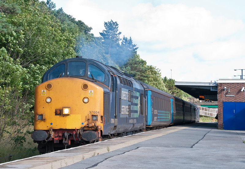 37 604 heads a northbound working out of Barrow on the early evening of 25th July 2015. One of the two top and tail workings went push pull two days later - so we did this just in time.