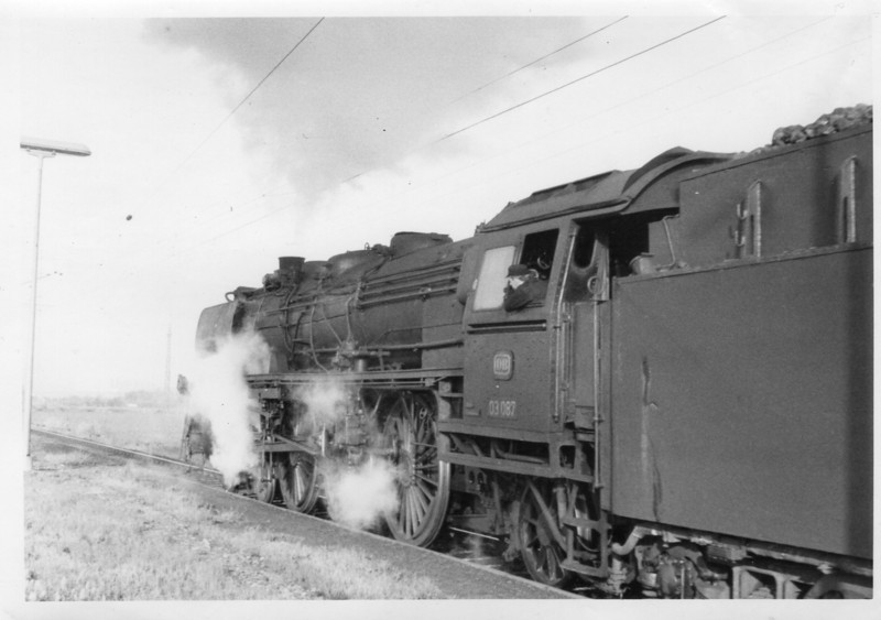 My first West German steam locomotive is seen departing, on 18/05/68, Herrath with train 2306 05 34 Dusseldorf to Aaachen - the Class 03 Pacific 03.087 having taken over at Monchengladbach.