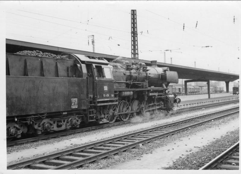 "Another view of this impressive ""jack of all trades"" 2-10-0 50.458 at Mannheim. This class was found working both freight and local passenger services throughout West Germany."