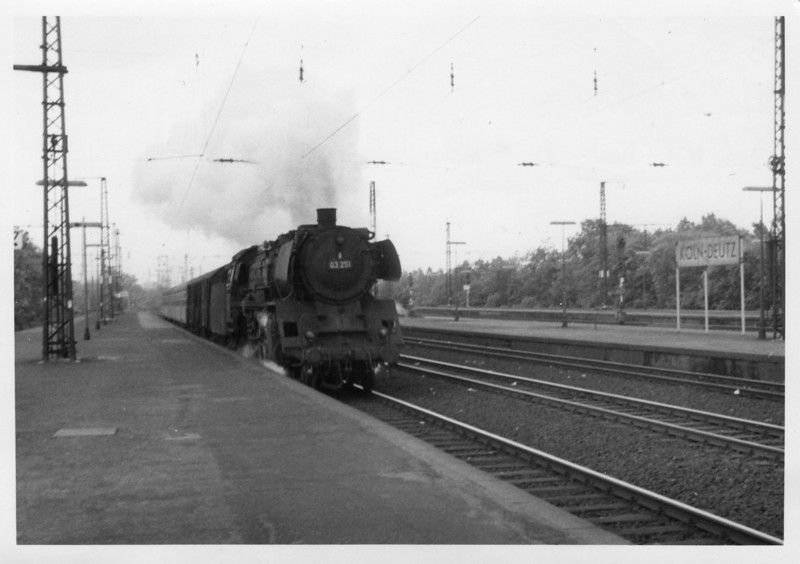 Koln Deutz, a suburban station from which some local services started at before calling at the main Koln Hauptbanhof en route to outlying destinations, sees 03 251 arriving with the stock of the 13 06 departure for Monchengladbach - on 18/05/68.