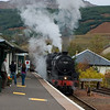 12th October 2009. With the Fort William to Mallaig Jacobite season over, Black 5 45407 & K1 Class 62005 (masquerading as 62034) and the empty coaching stock head back to Carnforth in Lancashire. Seen here at Crianlarich Station.