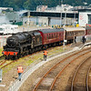 5th September 2010. LMS Class 5MT 4-6-0 No 45407 at Oban Station prepares for the return West Highlander run to Crianlarich.