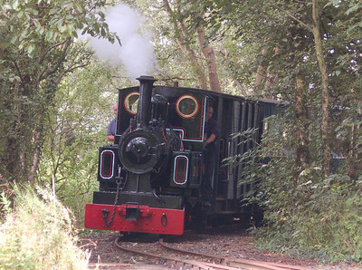 Marchlyn (Avonside 2067/1933) rounding the curve from Delph at the head of the passenger train