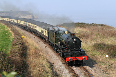 6024 'King Edward I' drifts towards Doniford Halt with the 11.00 Minehead to Bishops Lydeard.