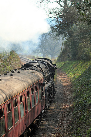 70000 'Britannia' heads through the cutting at Leigh Woods with the 10.00 Minehead to Bishops Lydeard.