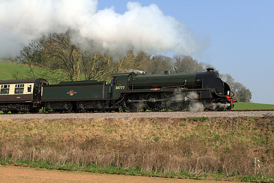 King Arthur Class 30777 'Sir Lamiel' climbs past Castle Hill, Williton with the 12.00 Minehead to Bishops Lydeard.