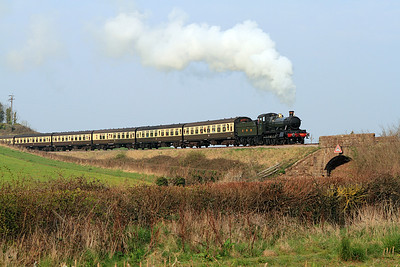 Mogul 9351 heads away from Doniford Halt with the 15.00 Minehead to Bishops Lydeard.