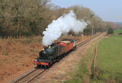 Mogul 9351 approaches Crowcombe Heathfield with the early morning goods from Minehead.