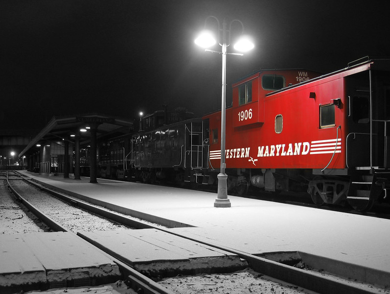 Western Maryland caboose on a cold winter night Western Maryland Scenic Railroad