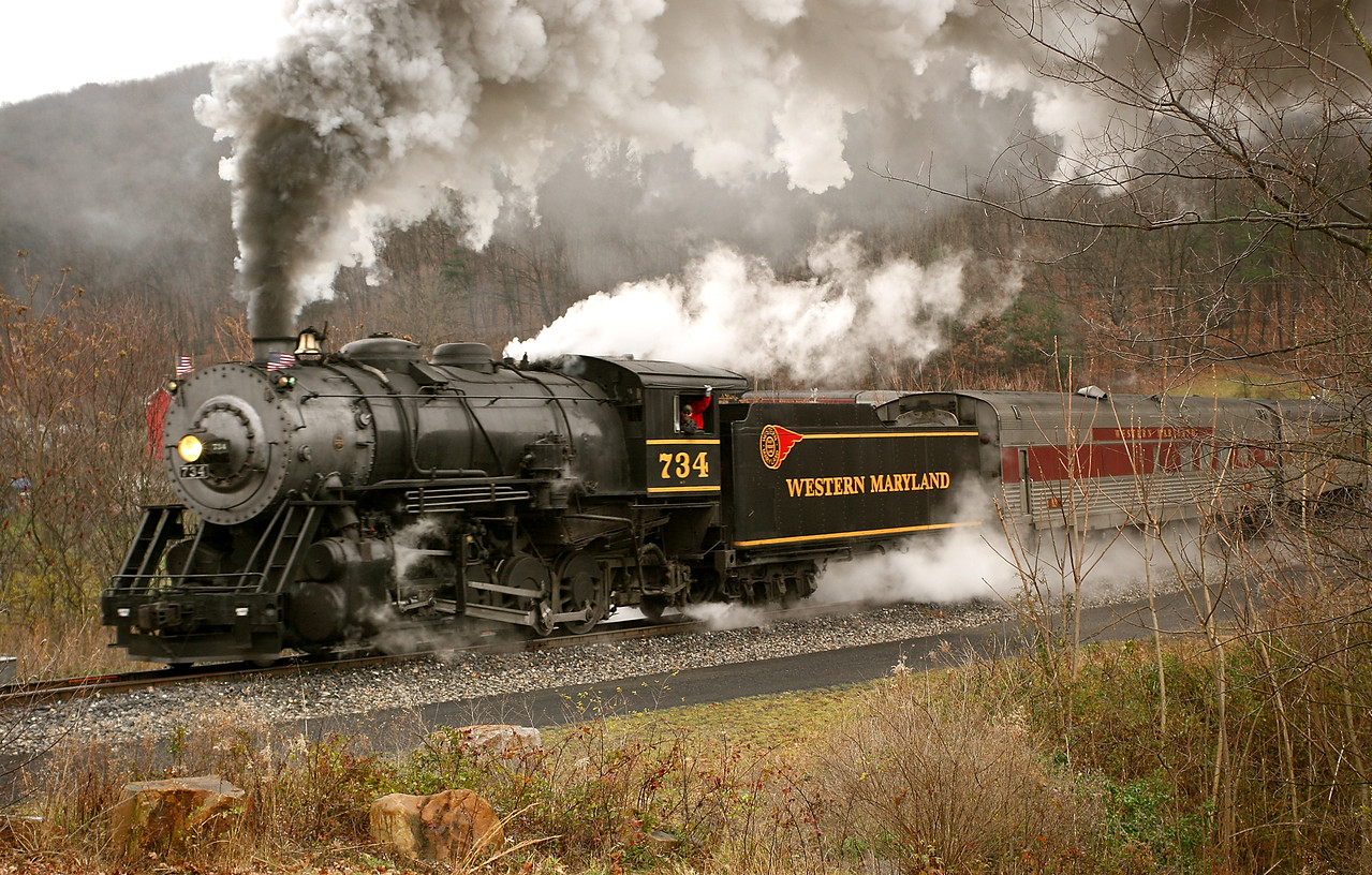 Dreary day steam Western Maryland Scenic Railroad