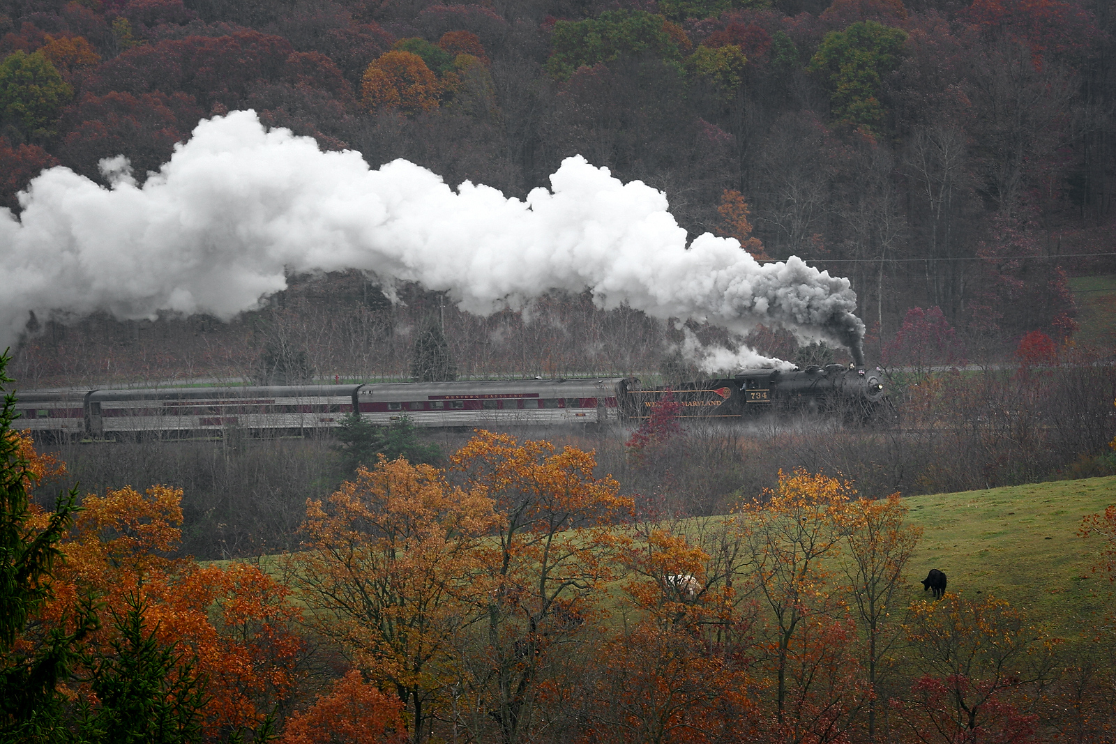 WMSR rainy day steam trail Western Maryland Scenic Railroad