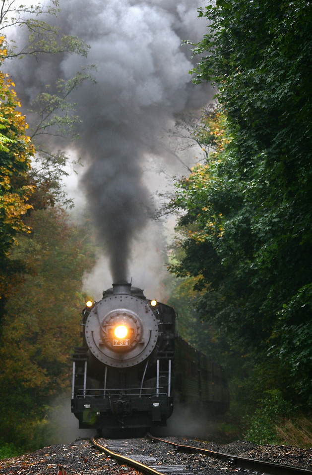Pulling towards Frostburg on a rainy day Western Maryland Scenic Railroad