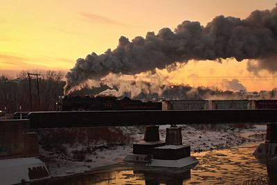 Western Maryland #734 approaching the station just before sunrise Western Maryland Scenic Railroad