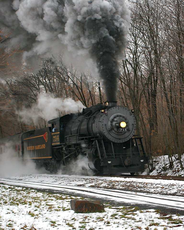 #734 approached Parkersburg Road on a snowy December day Western Maryland Scenic Railroad