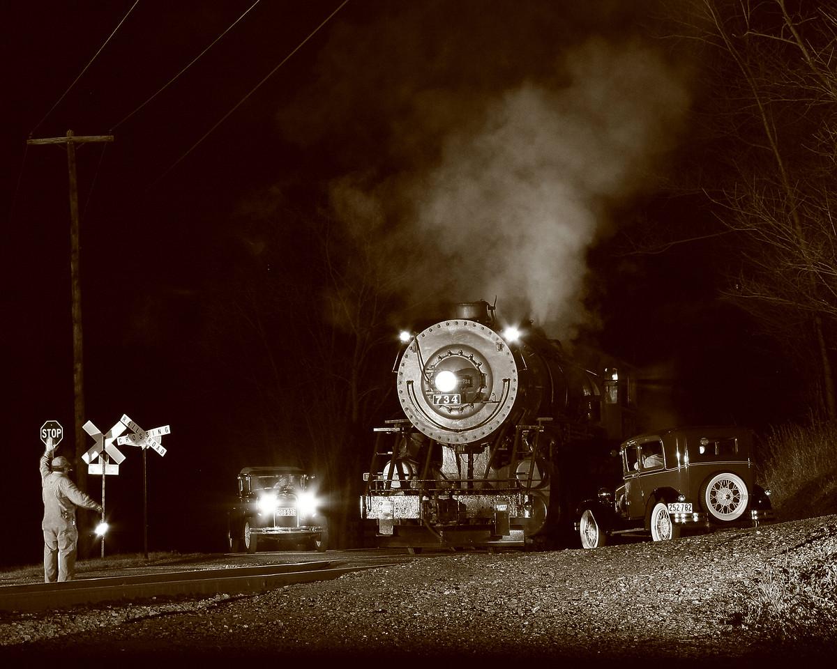 Night time traffic jam for WMSR #734. Western Maryland Scenic Railroad