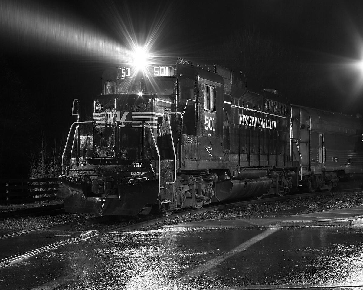 Diesel engine #501 on a rainy night in Frostburg Western Maryland Scenic Railroad