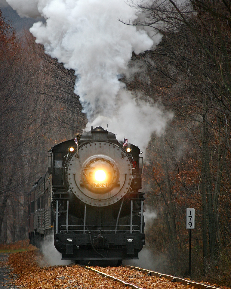Late autumn steam approaching milemarker 177 Western Maryland Scenic Railroad