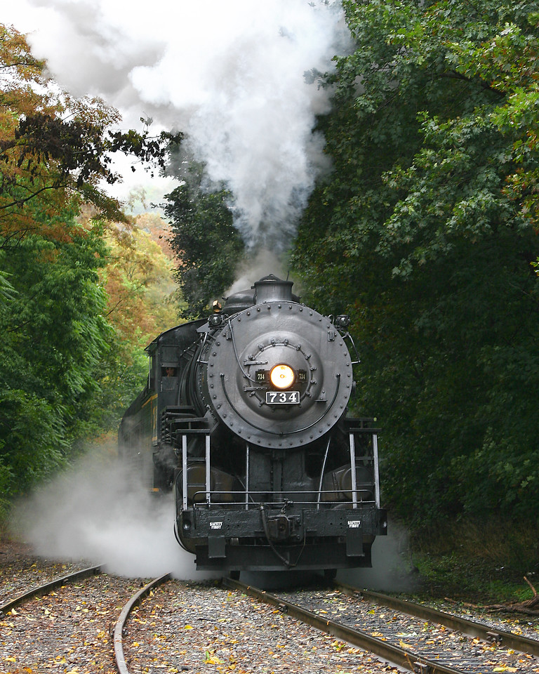 WMSR steam train #734 approaches Frostburg Western Maryland Scenic Railroad
