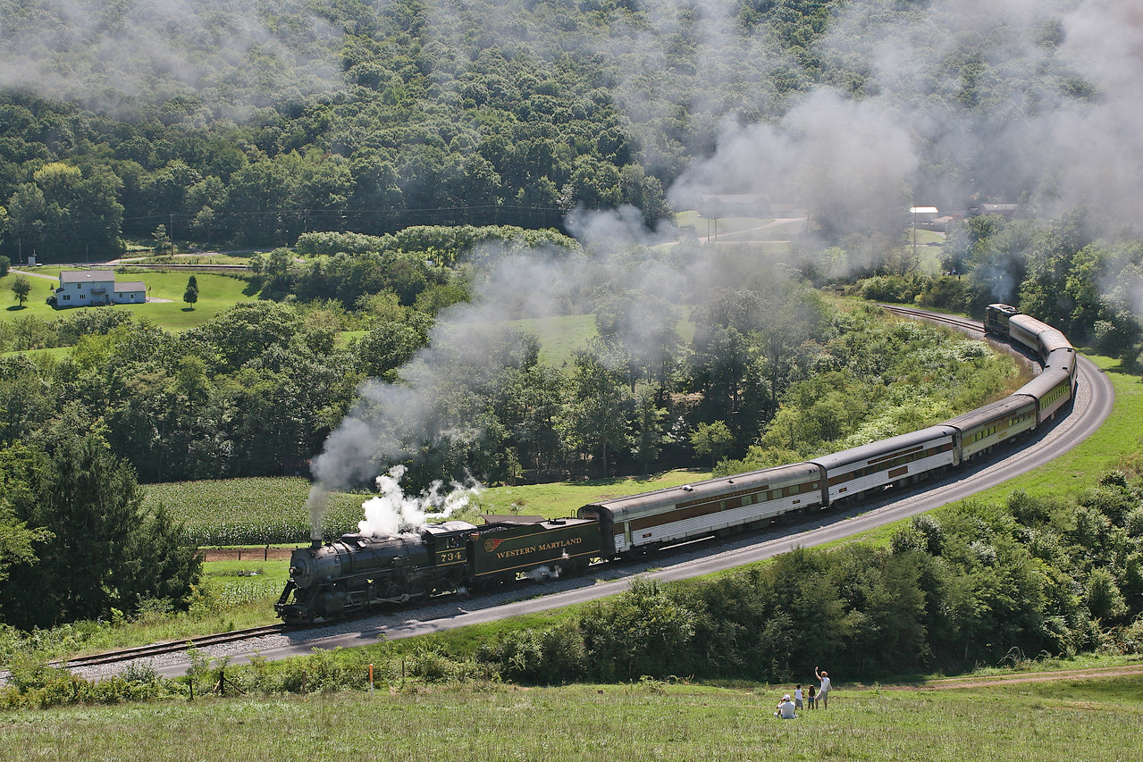 WMSR #734 rounds Helmstetter's Curve on a beautiful summer day. Western Maryland Scenic Railroad