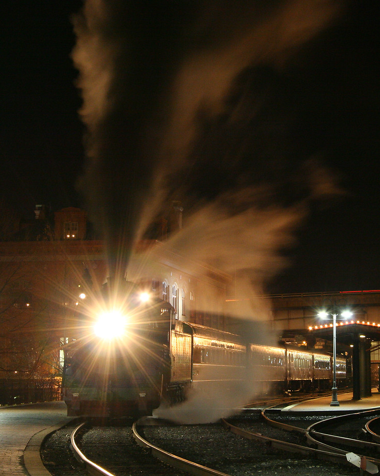 Night steam train leaving the station on a cold December night Western Maryland Scenic Railroad