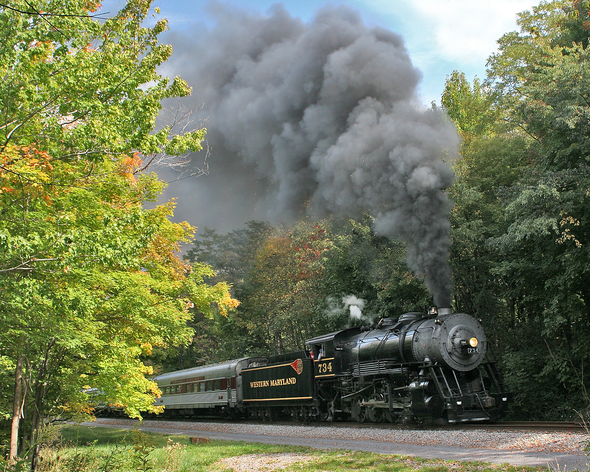 WMSR #734 approached Parkersburg Road Bridge in September Western Maryland Scenic Railroad