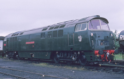This counts as one of the few times that a Western has been seen in green livery during the preservation era. It is D1010 whilst posing as D1035 'Western Yeoman' at Didcot in 1988.