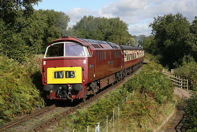 D1062 accelerates away from Hampton Loade on a gloriously sunny Saturday morning of the SVR Diesel Gala. It is working the 11.15 Bridgnorth-Kidderminster, full of admiring passengers. 6/10/12