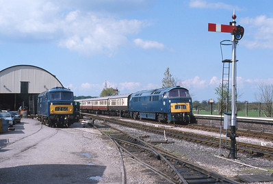 Here we have a matching display of early BR blue liveries on both D7017 and D1010 at Williton. 29/4/00