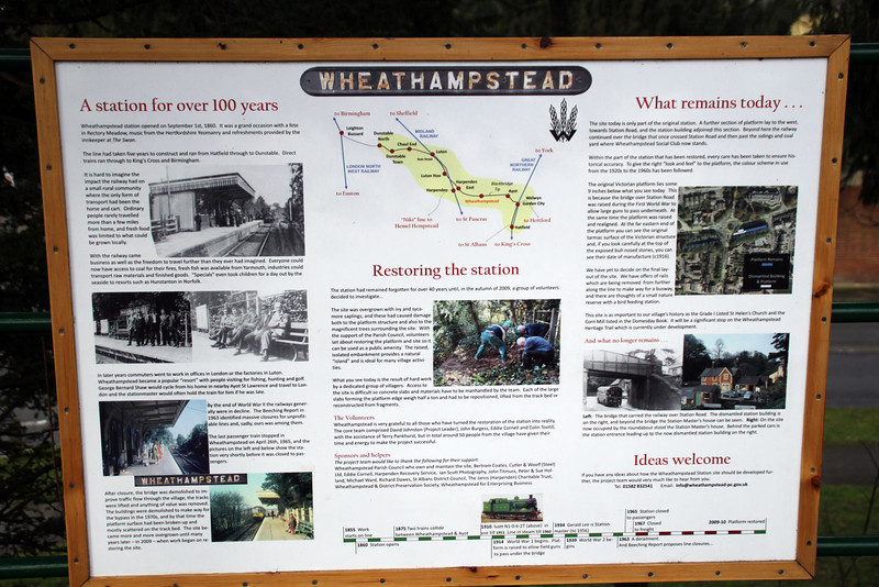 Wheathamstead Station info board explaining about the the restoration of the former platform and branch line from Welwyn Garden City to Luton. 29/01/12