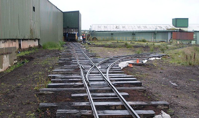 "A view of the track leading to the tippler and the points at which the loop rejoins the ""main line"""