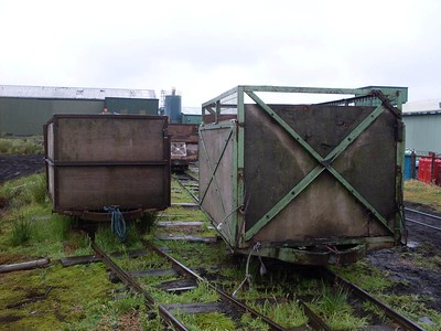 Two of the peat wagons seen on the lines near the workshops.